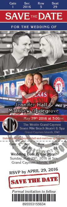 Baseball Themed Wedding Ideas - Event Ticket Save the Date Magnet.  Under $2 each.  #baseballwedding