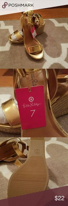 Gold wedge sandals Lilly for Target, never worn, gold Lilly Pulitzer for Target Shoes Wedges