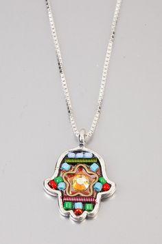 Arabic lucky talisman Chamsa  Silver Chamsa colorful by NoyJewelry, $65.00