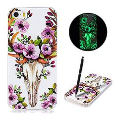 iPhone 5 5s SE Case, Caselover Luminous Case for iPhone 5, Glow in dark Creative Fluorescent Silicone Back Cover TPU Flexible Soft Anti-Scratch Frame Shell Lightweight Bumper Protector with Printed Pattern for iPhone 5 - Deer