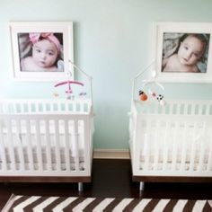 A fabulous boy girl twin nursery with modern amenities and a neutral and fresh palette.