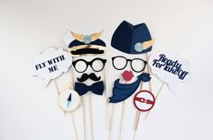 Airplane Party Photobooth Props 12 Pc Pilot by PAPERandPANCAKES