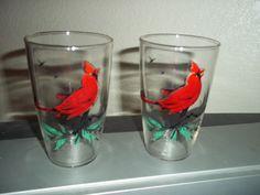 Set of 2 Vintage Drinking Glasses Cardinals Birds