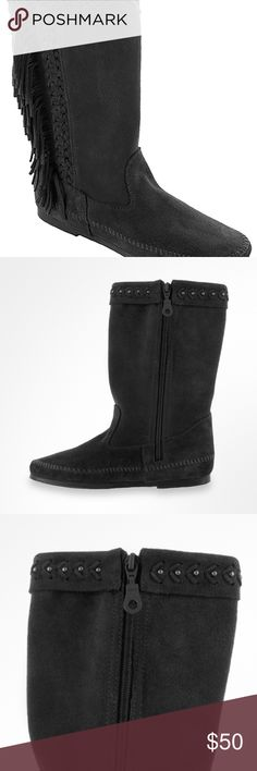 cb08b090113 Minnetonka 1699 Luna BLK Suede Moccassin boot Flirty fringe accents and  metal studded cuffs provide head