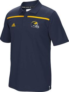 Michigan Wolverines Blue 2015 Adidas Coaches Sideline Climalite Polo $63.95