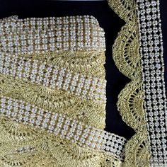 Gold Thread Scallop Border With White Pearl One by KnicKnackNook