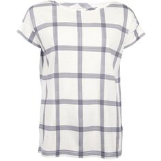 Women's Barbour Lamington Top - Cloud / Navy (£55) ❤ liked on Polyvore featuring tops, white tops, plaid top, navy top, summer tops and white summer tops