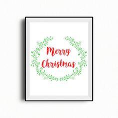 Merry Christmas printable, Christmas decor, Christmas gift, Holiday printable, Red and Green Christmas, Instant download Christmas, 8x10