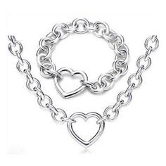Tiffany Sets Round Link With Heart Clasp Set-$95.95