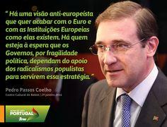 """Pedro Passos Coelho, Presidente do Partido Social Democrata na Conferência """"30 anos de Portugal na Europa"""". #PSD #acimadetudoportugal"""