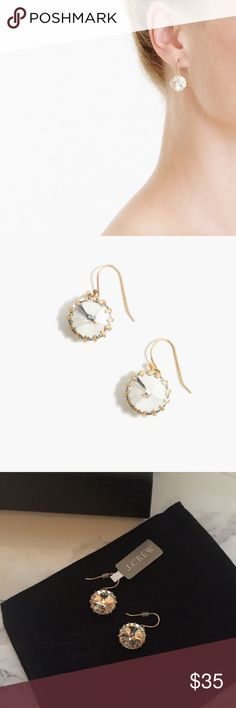 """J. Crew Venus Flytrap Earrings Stunning Venus Flytrap Earrings from J. Crew. Brand new with tags, jewelry bag and box.  Received this as a lovely birthday gift but I already have them.  Perfect for Christmas! These are gold with clear crystals. 1"""" drop. J. Crew Jewelry Earrings"""