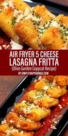Air fryer five cheese lasagna frittas with creamy ricotta cheese, mozzarella, Parmesan, Romano, and asiago cheese rolled and fried in lasagna noodles.