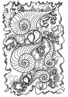 Des poissons cachés dans un magnifique dessin Zentangle, Dans la galerie : Zentangle, Artiste : Zen Feerie