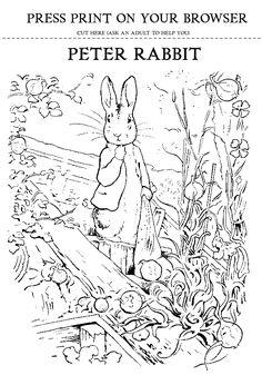 Beatrix Potter's Peter Rabbit Printout for coloring