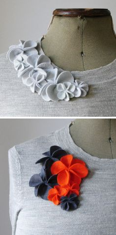 So easy to make to dress up that boring old sweater. Add the flowers to a pin & make it ever so changeable
