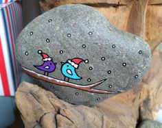 Hand Painted Beach Pebble Xmas Birds