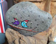 Hand Painted Beach Pebble Xmas Birds