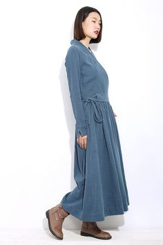 Long sleeves linen dress C303 by YL1dress on Etsy