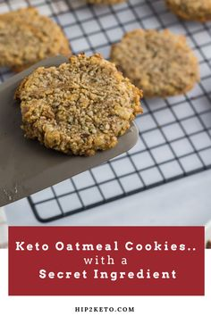 I've always been a big fan of oatmeal cookies, especially when they're soft, chewy, and filled with warm and cozy feels. If I could, I'd wrap myself in an oatmeal cookie. And then I'd happily eat my way out of it! Keto Oatmeal, Oatmeal Cookie Recipes, Oatmeal Cookies, Low Carb Desserts, Low Carb Recipes, Dessert Recipes, Healthy Desserts, Baking Recipes, Keto Cookies