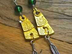 Mixed Metals! Steampunk Antique Balance Staff with Green Bead by FragmentedTime, $22.00