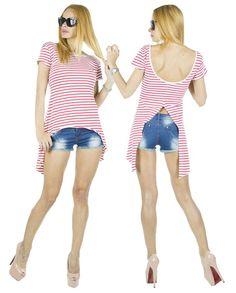 Tricou dama Coco Red  -Tricou dama casual  -Model lejer, ce se aseaza frumos pe corp  -Detaliu spate gol, ce da un plus de senzualitate     Latime talie:35cm  Lungime:55cm  Lungime colt:85cm  Compozitie:100%Bumbac Bikinis, Swimwear, Retro, Casual, Model, Fashion, Bathing Suits, Moda, Swimsuits