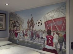 Wall painting in a young football fans bedroom - 2014