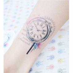 """cutelittletattoos: """"Graphic style clock tattoo above the ankle. Tattoo artist: Banul """""""