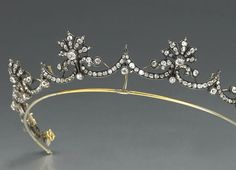 Antique Tiara (ca. 1880; diamonds, gold, silver).