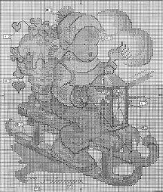 "(""Winter Fun"" Hummel cross stitch pattern #1)  ЧБ  схема  "" винтажная  открытка""=  на   санях.  без  ключа"
