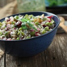 Green split pea salad with rice  cranberries