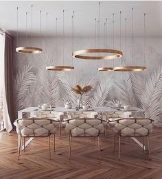 of the day: White + Gold dining room. Love the mesmerizing lighting and color s… of the day: White + Gold dining room. Love the mesmerizing lighting and color scheme! Home Interior Design, Home Design, Interior Decorating, Design Ideas, Luxury Interior, Deco Design, Design Case, Dining Room Design, Home Fashion