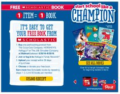 Get a free Scholastic Book with the purchase of one participating product at Walmart right now!