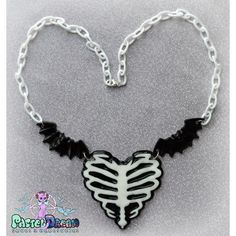 Ribcage Heart Necklace,zombie Fairy Kei, Pastel Goth, Soft... ($8.31) ❤ liked on Polyvore featuring jewelry, necklaces, pastel goth jewelry, gothic necklace, grunge necklaces, resin jewelry and gothic jewellery