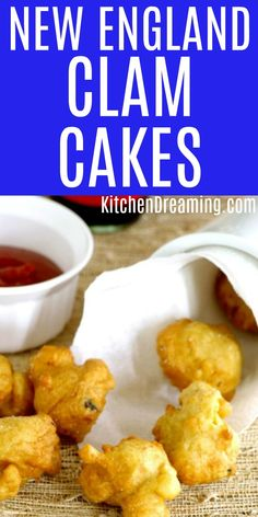 New England Clam cakes are often served at restaurants and roadside stands and are eaten as a finger food. These clam cakes are light, crisp, and full of clams! Try in these dunked into your clam chowder. Cakes Fritters England Dreaming via Canned Clam Recipes, Clam Chowder Recipes, Fish Recipes, Seafood Recipes, Appetizer Recipes, Cooking Recipes, Asian Recipes, Seafood Appetizers, Curry Recipes