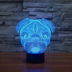 3D LED Pug Table Lamp / Night Light