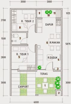 rumah minimalis type 36 Japan House Design, House Layout Design, Bungalow House Design, Small House Design, House Layouts, Small House Floor Plans, Modern House Plans, Minimalist House Design, Minimalist Home