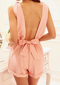 Bow Cutout Back Romper - Baby Pink