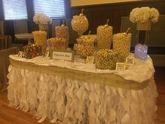 Wedding Buffet Menu, Wedding Decor, Sweet Buffet, Kettle Corn, Popcorn Bar, Baby Shower Fun, Save The Date Cards, 50th Anniversary, Wedding Planning