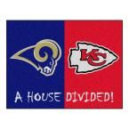 NFL Rams/Chiefs Navy House Divided 2 ft. 10 in. x 3 ft. 9 in. Accent Rug, Blue/Red