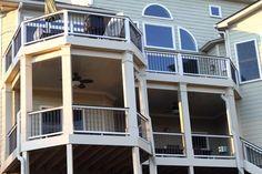 Gorgeous octagonal deck and covered porch / deck remodel. Trex Composite Decking, New Deck, Covered Decks, Decks And Porches, Houzz, Exterior, Atlanta Georgia, Mansions, Contemporary