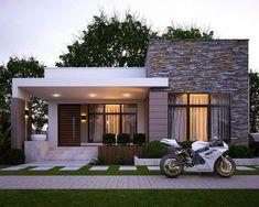118 beautiful minimalist house design ideas with front porch 16 House Front Design, Small House Design, Modern House Design, Modern House Facades, Modern Bungalow House, My House Plans, Modern House Plans, Small Modern Home, Minimalist House Design