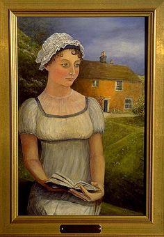 Jane Austen nel giardino del suo cottage a Chawton. Dipinto di Tom Clifford.