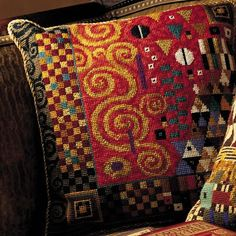 Candace Bahouth's gorgeous needlepoint pillows - Ehrman Tapestry.
