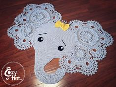 Elephant Rug. Hand Crocheted. MADE TO ORDER by CozyHat on Etsy