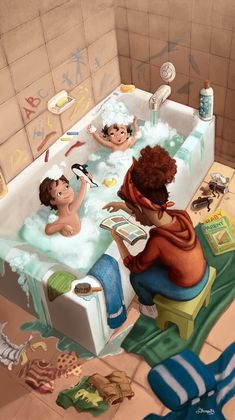 "My Illustration Process for ""Bathtime"" Mother Daughter Art, Mother Art, Mother And Child, Family Illustration, Cute Illustration, Buch Design, Girly Drawings, Illustrator, Bath Time"