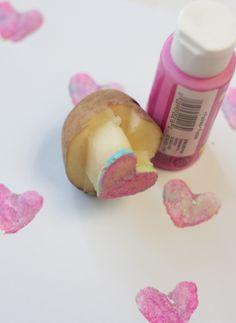 Potato Stamp Valentines