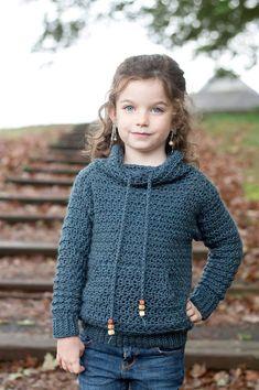 The Rowan Pullover Crochet Pattern Pdf D - hadido Crochet Hoodie, Crochet Cardigan Pattern, Knit Crochet, Crochet Patterns, Crochet Toddler, Crochet For Boys, Crochet Clothes, Crochet Scarves, Bolero