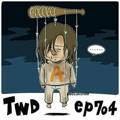 Daryl as Negan's puppet artwork