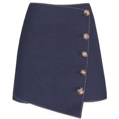 Baxter Denim Asymmetric Button Skirt (€87) ❤ liked on Polyvore featuring skirts, mini skirts, bottoms, faldas, stretchy mini skirts, asymmetrical skirt, stretch skirt, short mini skirts and button skirt