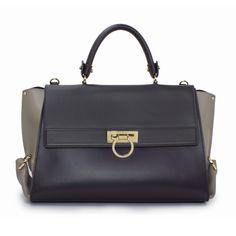 Salvatore Ferragamo - Bags - Sofia Leather Bag - New Mirtillo and Grey Opal - 21D543